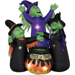 animated 3 witches with cauldron halloween blowups - Halloween Inflatables Clearance