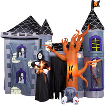 this inflatable haunted house blowup is more like a haunted castle its about 12 foot wide and one of the new walmart inflatables for the 2017 season - Halloween Inflatables Clearance